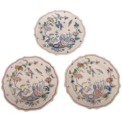 Three Antique French Gien Hand-Painted with Scallop Edge Plates, circa 1860