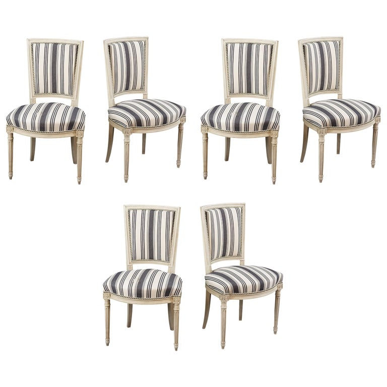 Handsome Set of Six Louis XVI Style Side Chairs Covered in Blue and White Stripe