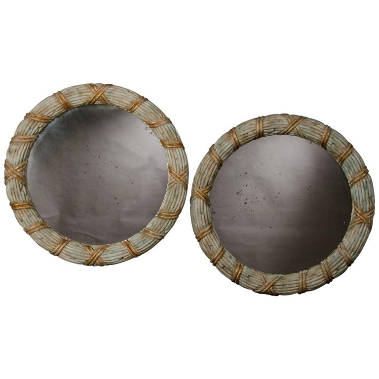 Pair of Vintage French Round Hand-Carved Painted Mirrors, circa 1940