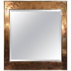 Labarge Hollywood Regency Style Églomisé Chinoiserie Mirror in Bevelled Centre