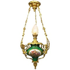 French 19th Century Figural Sevres Porcelain and Ormolu Mounted Hanging Lantern