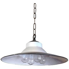 Original Industrial White Enamel Steel Machine Shop Pendant Light