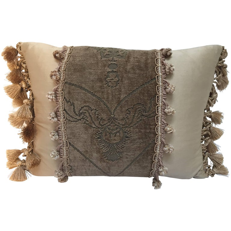 Silk Throw Pillow with French Gold Trim