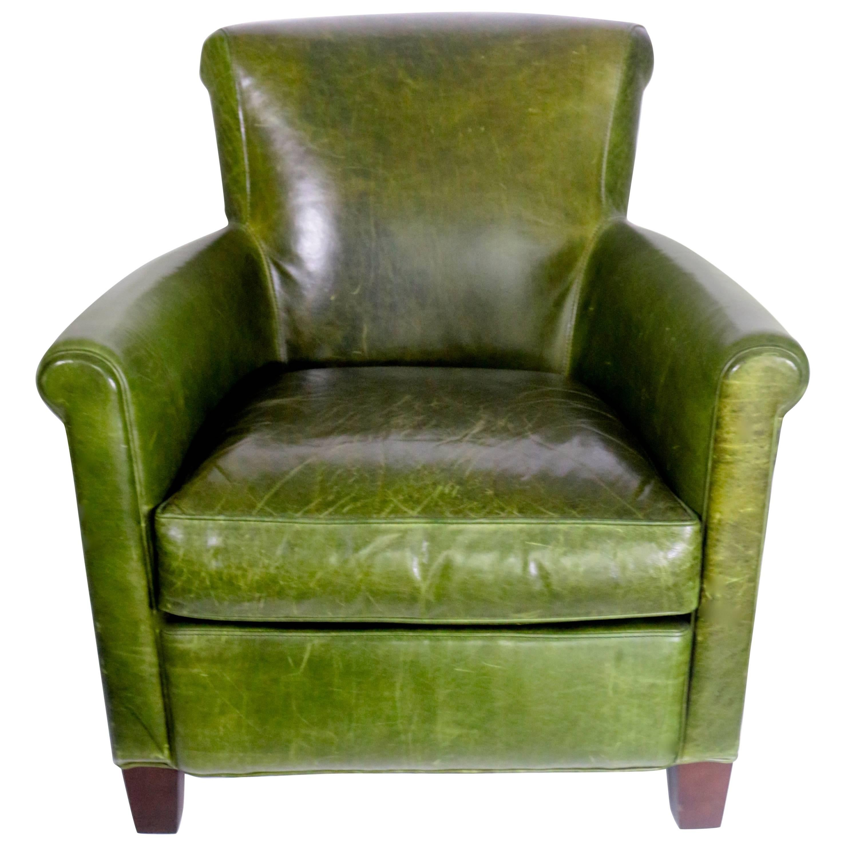 Antique French Distressed Emerald Green Leather Club Chair For Sale