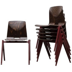 Prouve Style Single Shell Industrial Stacking Chair with Wine Red Legs