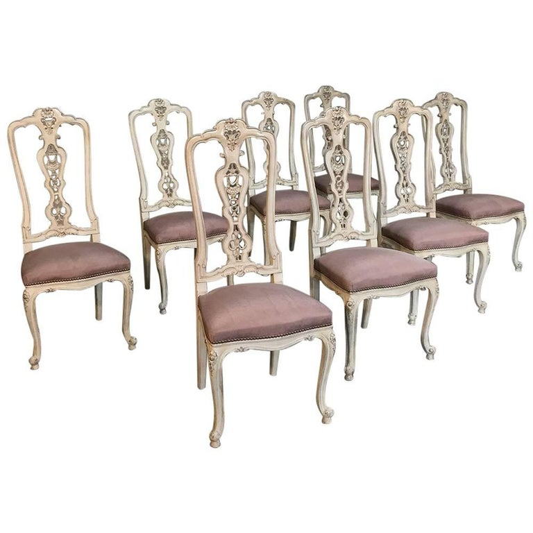 Set of eight antique italian baroque painted dining chairs for Baroque dining furniture
