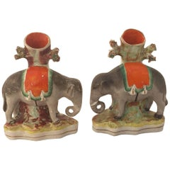Pair of 19th Century English Staffordshire Elephants