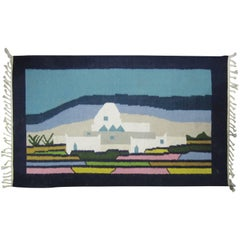 Woven Wool Rug or Tapestry with Mexican Landscape Scene