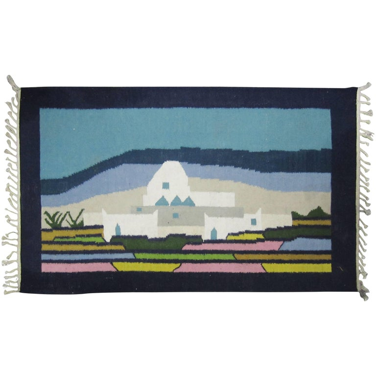 Woven Wool Rug or Tapestry with Mexican Landscape Scene For Sale