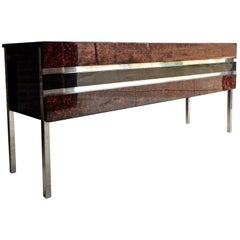 Antique 1960s Mid-Century Faux Tortoiseshell Sideboard Credenza