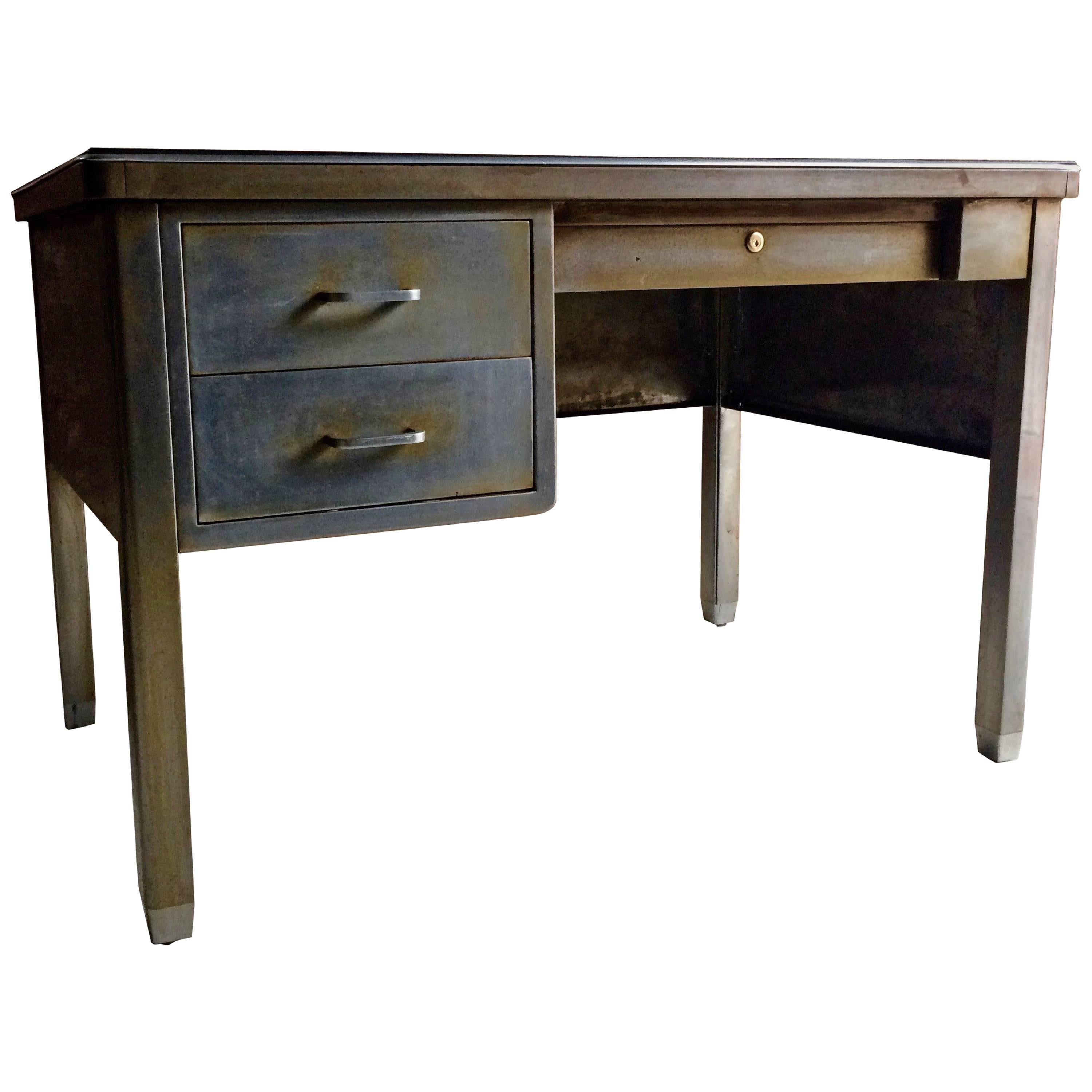 antique 20th century steel industrial writing desk at 1stdibs rh 1stdibs com small industrial writing desk industrial writing desk with shelves