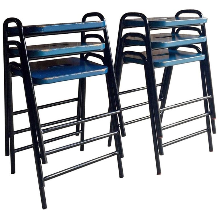 Set Of Six Science Lab Bar Stools Industrial For Sale At