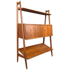Anton Borg & Arne Vodder for Vamo Teak Bookshelf with Desk Cabinet