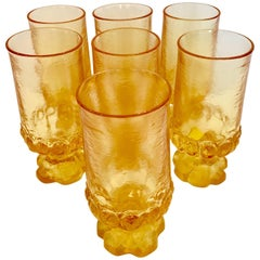 "60'S ""Thumbprint"" Blown Glass Footed Stem Drink Glasses By,  Franciscan S/7"