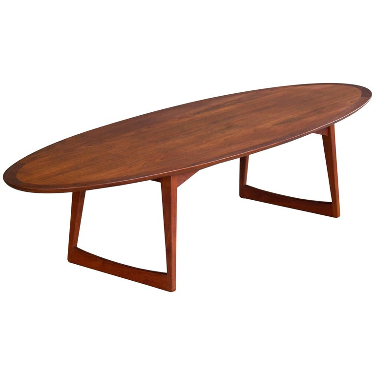 Grete jalk attributed surfboard coffee table in teak for for Surfboard coffee table