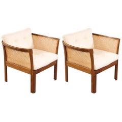 1960s Illum Vikkelso Plexus Easy Chairs in Mahogany and White Fabric