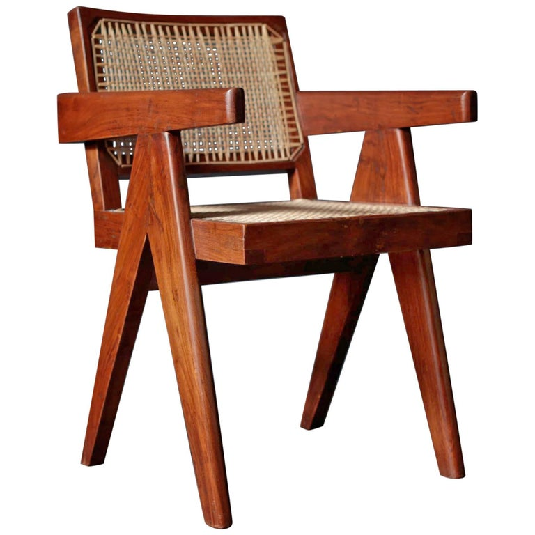Office Cane Chair in Sissoo by Pierre Jeanneret For Sale