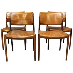 Set of Four Dining Chairs, Model 80 in Rosewood by N.O. Møller, 1960s