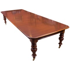 19th Century Victorian 12 ft Flame Mahogany Extending Dining Table