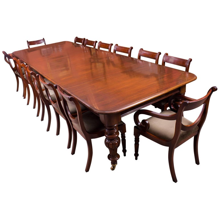 19th Century Victorian Flame Mahogany Dining Table And 14 Chairs For