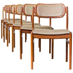 1960s Johannes Andersen Dining Chairs for Uldum Møbelfabrik Set of Six