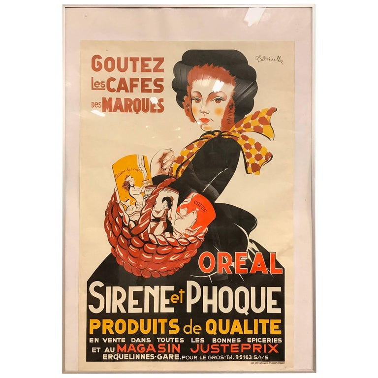 Vintage french coffee affiche 39 sirene et phoque 39 at 1stdibs for Poster et affiche