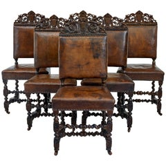 Set of Six 19th Century Carved Oak Carolean Inspired Dining Chairs