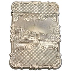 Victorian Silver Castle-Top Card Case 'Chatsworth House & Burns Monument', 1846