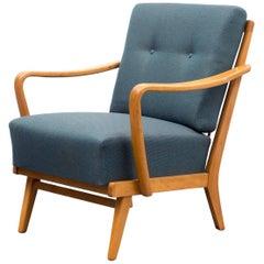 1950s Armchair, Reupholstered, Petrol Blue, Beech