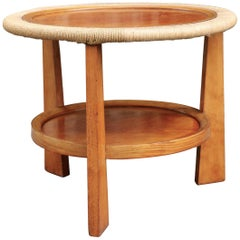 1950s Pedestal Table in Wood and Rope
