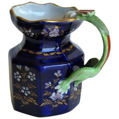 English Ironstone Jug with Dragon Handle Hand painted and Gilded, Ca 1820