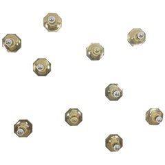 Set of Ten Golden Cubic Wall Lights by Motoko Ishii for Staff Lights, Germany