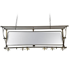 Brass Coat Rack with Mirror and Hooks