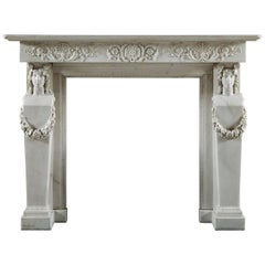 Antique Regency Grecian Revival Fireplace Mantel with Cartyatid / Term Legs
