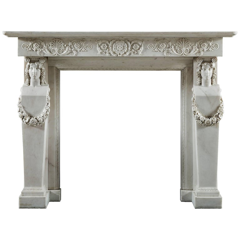 Antique Regency Grecian Revival Fireplace Mantel with Cartyatid / Term Legs 1