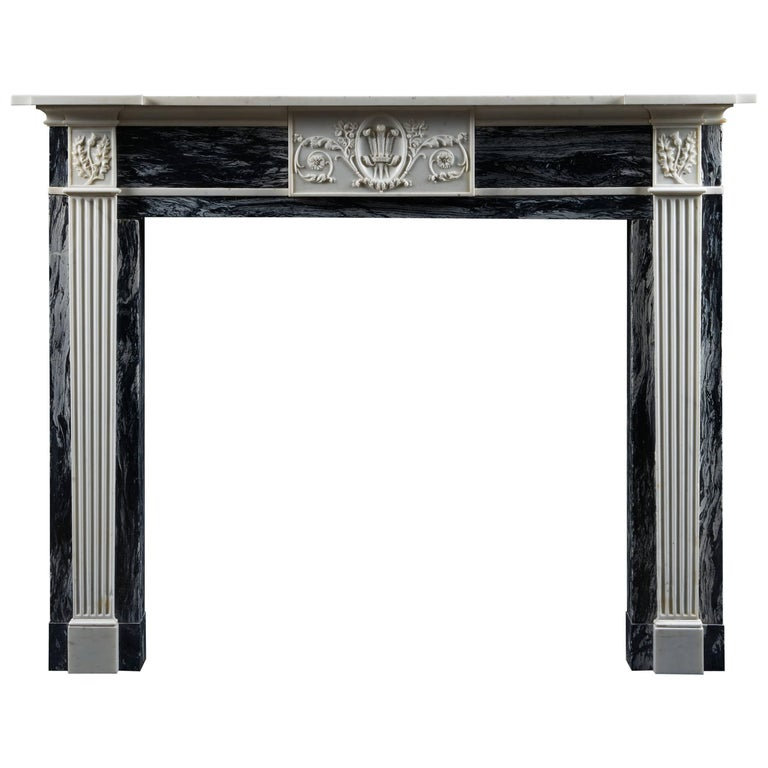 Antique Georgian Fireplace Mantle in Bardiglio and Statuary Marble For Sale