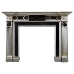 Antique Neoclassical Fireplace in Portoro, Irish Fossil and Statuary Marble