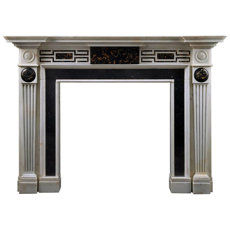 Antique Neoclassical Fireplace in Portoro, Irish Fossil and Statuary Marble For Sale