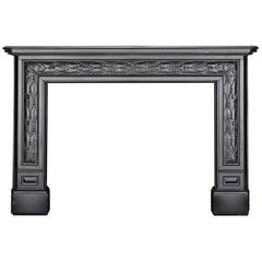 Antique Charles X Black Marble Fireplace Mantel