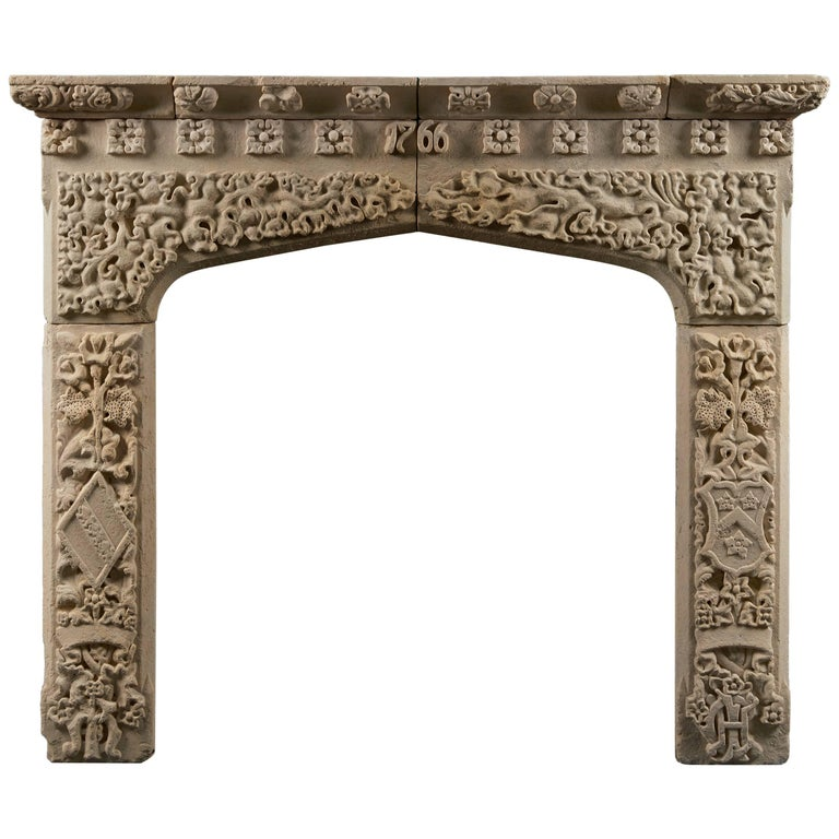 Antique George III Stone Fireplace Mantle For Sale