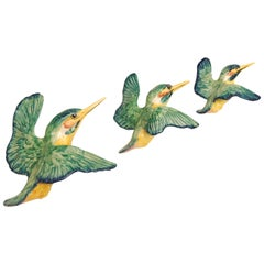 Beswick Flying Kingfisher Wall Plaques, Set of Three Birds