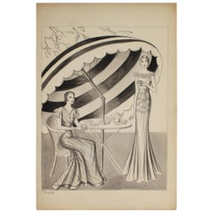 Black and White Fashion Illustration, circa 1940 by Emma Shields
