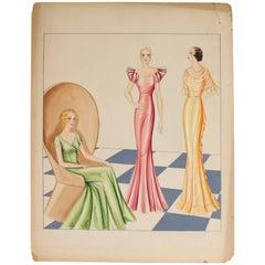 Color Fashion Illustration by Emma Shields, circa 1940