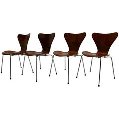 Mid Century Modern Vintage Brown Chairs Arne Jacobsen Model 3107 circa 1955