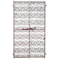 Pair of 19th Century, Wrought Iron Ornate Window Grills