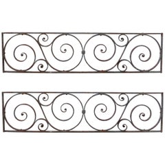 Pair of Antique Wrought Iron Scrolled Window Grills