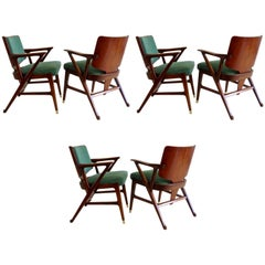 Important and Rare Set of Six Cassina Dining Armchairs, 1950