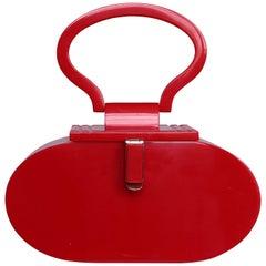 French Red Lucite Handbag with Chrome Clasp, circa 1960