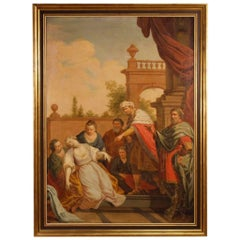 18th Century, Italian Religious Painting Biblical Scene with Golden Frame
