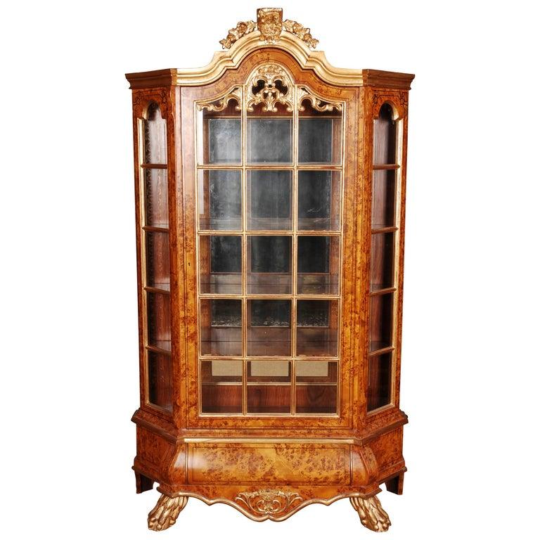 20th Century Baroque Style Dutch Vitrine Cupboard For Sale
